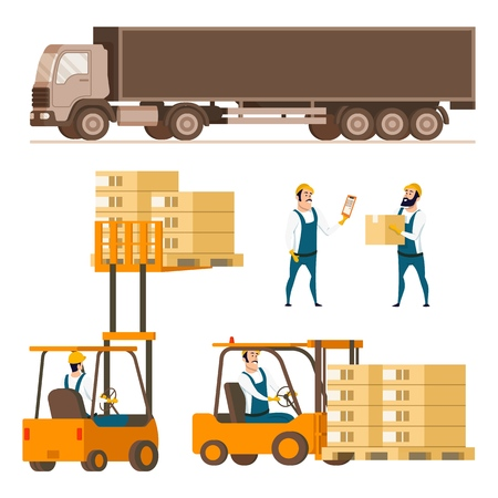 Storage Delivery Equipment Element Character Set. Compact Forklift Cars with Box in Various Combination, Shipping Truck, Warehouse Worker in Uniform. Flat Cartoon Vector Illustration