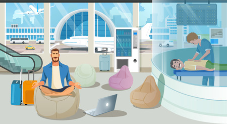Businessman on Trip or Traveling Freelancer Comfortably Meditating in Airport Recreation Area with Massage Service. Waiting for Plane, Relaxing After Flight, Airport Attractions Cartoon Vector Concept