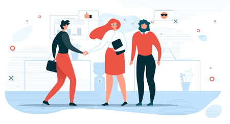 Business People Communication Flat Vector Concept with Businesswoman Shaking Hand to Partner, Company Hiring Manager Welcoming New Employee Illustration. Business Meeting for Negotiations in Office
