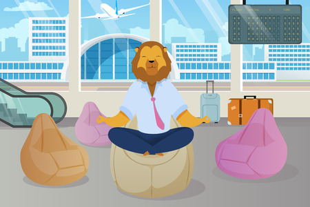 Office Worker with Lion Head Meditating Clipart. Metaphor of Relaxed Businessman as Animals King. Employee in Lotus Position in Airport Lounge. Calm Down, Clear Mind Flat Cartoon Vector Concept Banco de Imagens - 124518964