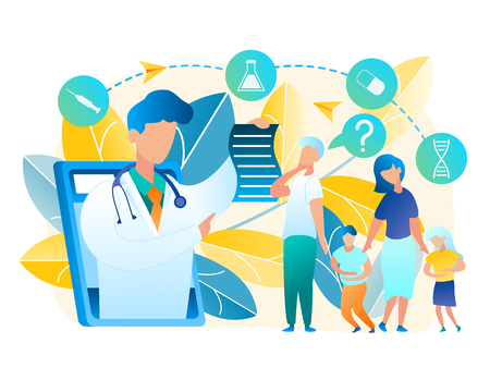 Vector Family Turned for Help Doctor Pediatrician. Illustration Men and Woman Consult Online with Doctor. Boy and Girl Holding to Sore Belly. Online Medicine Using Tablet Communication with Man Doctor Vettoriali