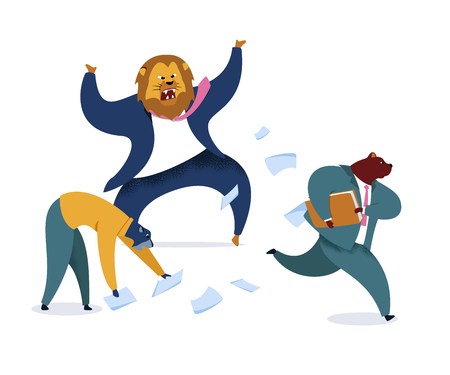 Angry Boss with Lion Head Vector Illustration. Office Workers Metaphor as Animals. Employer Shouting at Workplace. Workday, Work Rush, Office Chaos Cartoon Clipart. Humanised Busy, Stressed Mammals