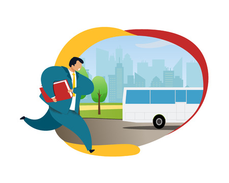 Businessman Running after Bus Vector Illustration. Office Worker in Suite with Briefcase Hurrying up. Busy, Stressed Employee Rushing. Working-Day, Daily Routine Flat Color Cartoon Clipart