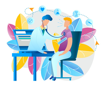 Illustration an Online Doctor Consultation at Home. Vector Image Man Measures Temperature Body Thermometer. Sitting in Front Laptop. Doctor Pediatrician Screen Monitor Device Examines Patient Disease