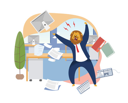 Angry Boss with Lion Head Vector Illustration. Office Worker Metaphor as Animals King. Mad Employer Shouting. Workday, Work Rush, Chaos, Deadline Concept. Papers, Documents, Folders, Keyboard Flying Ilustração