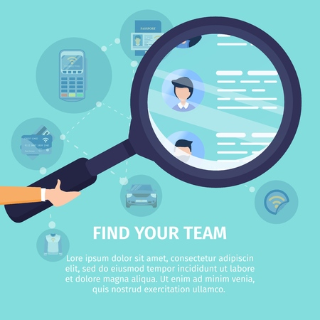 Find Your Team Flat Vector Square Advertising Banner. Job Search Service, Recruiting Company Promo Poster Template. Human Hand Holding Magnifying Glass, Magnifying Job Applicants Resume Illustration Reklamní fotografie - 118708850