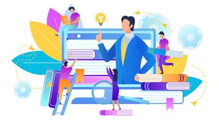 Webinar and Online Education, Trainer Teaches Group of Students Online. Teaching Course or Seminar for Scholars. Distance Examination. Teacher Speaking at Computer Screen. Flat Vector Illustration