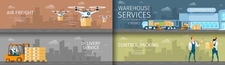 Conjunto de servicios de entrega o distribución de almacén. Suministro automático de carga aérea por Flying Drone. Entrega urgente de peso. Control de embalaje por carácter de trabajador. Ilustración de vector de dibujos animados plana
