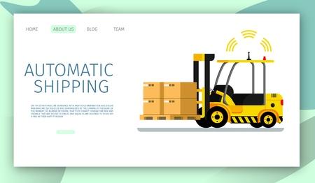 Automatic Shipping Car Lifting Warehouse Cargo Up. Safe Signal Radar Working. Side View of Mechanical Yellow Loader Carring Cardboard Box. Robotic Transpotation. Flat Cartoon Vector Illustration