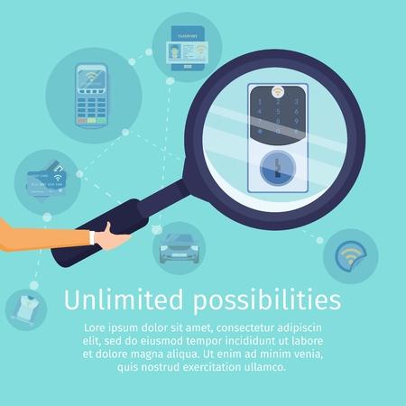 Unbegrenzte Möglichkeiten mit NFC-Technologie Flat Vector Square Werbebanner. Secure Access Service-Promo-Poster-Vorlage. Menschliche Hand, die Lupe hält, Vergrößerungscode-Schloss-Illustration