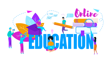 Big Blue and Pink Colored Words Online Education. Little Learning People Moving Around with Stationery Isolated on White Background. Cartoon Characters. Textbooks. Creative Flat Vector Illustration.