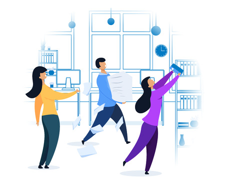 Work Rush, Office Chaos, Flat Vector Illustration. Busy Workers Fussing at Workplace. Colleagues Teamwork Concept. Workday, Shift, Daily Routine. Job Deadline. Linear Office Interior Drawing