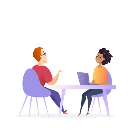 Vorstellungsgespräch treffen. Hr-Manager-Vektor-Zeichen. Frau von Laptop machen Gespräch mit Mann für Business Corporate Position. Effektives Einstellungsforschungskonzept. Rekrutierung Cartoon Illustration