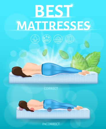 Best Orthopedic Mattress Realistic Vector Promo Banner or Poster with Correct and Incorrect or Traumatic Lying Positions During Sleep. Woman Lying on Orthopedic and Hard Spring Mattress Illustration Иллюстрация