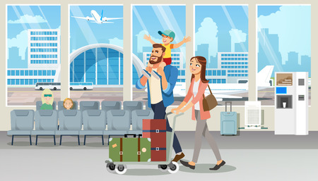 Young Family Vacation Flight Cartoon Vector with Happy Millennial Parents Carrying Baggage on Cart, Walking with Child in Airport Terminal Waiting Room Illustration. Boarding to Airplane Concept
