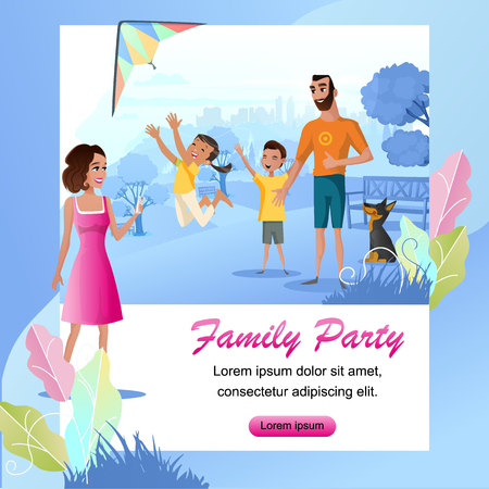 Family Party Cartoon Vector Square Web Banner with Happy Father and Mother Playing with Children, Launching Kite, Making Mobile Photos in City Park Illustration. Family Outdoor Summer Leisure Concept