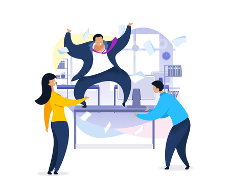 Work Rush, Office Chaos, Flat Vector Illustration. Employer Shouting at Employees. Nervous, Stressed Office Workers Arguing. Angry Boss on Desk. Documents Flying. Cartoon Characters Concept Illusztráció