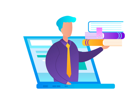 Man at Laptop Screen Holding Heap of Books on Hand Isolated on White Background. Teacher and Online Courses. E-Learning, Training, Gaining Knowledge, Flat Vector Illustration, Icon, Clip art.