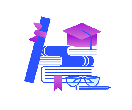 Graduation and Education Stuff. Heap of Textbooks with Academical Cap, Scroll, Glasses, Pencil Isolated on White Background. Blue and Purple Gradient Palette. Flat Vector Illustration, Icon, Clip art.