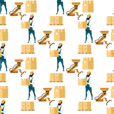 Automatic Box Packing Device Seamless Pattern. Brown Metal Factory Crane Robotic Claw Equipment. Factory Worker Character Holding Cardboard Package. Flat Cartoon Vector Illustration