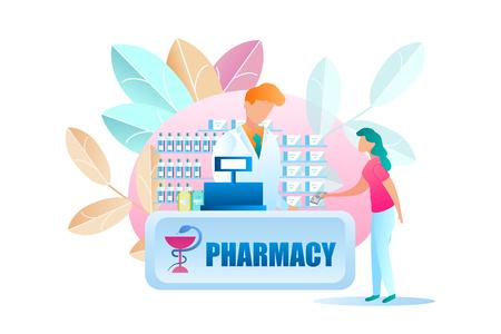 Illustration Femme achetant des médicaments à la pharmacie. Fille de vecteur étend le billet de banque de travailleur pharmaceutique masculin. Achetez des médicaments sur ordonnance. Vitrine avec drogue. Le pharmacien est derrière la caisse enregistreuse