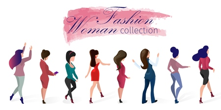Set Fashion Woman Collection Vector Illustration. Lettering on Watercolor Smear. Women Demonstrate Different Models Clothing for Everyday Life and Evening Out. Designer Presentation Moda. Illustration