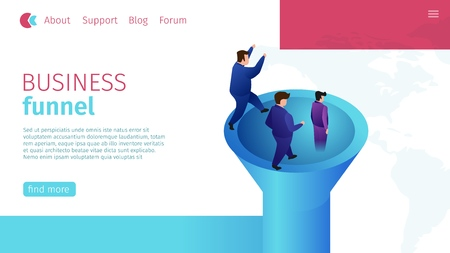 Flat Banner Timely Business Funnel Definition. Vector Illustration on Landing Page. Target Market Brand, Special Group People Economic Market. Men Seek to Connect and Provide Marketing.