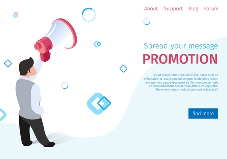 Spread Your Message Promotion on Social Networks. Flat Banner Plump Man Business Suit Speaks to Volume Amplifier. Vector Illustration Landing Page Public Involvement Advertised Product.