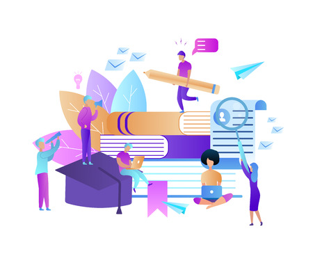 Young People Stydying Together Using Gadgets. Distance Learning, Online Courses, Education, Electronic Books And Textbooks, Collective Studying, Exam Preparation. Flat Vector Colorful Illustration