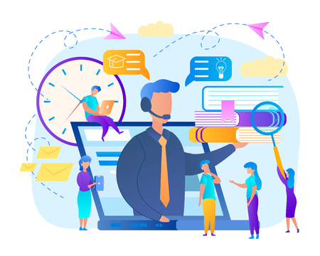Trainer with Headset Speaking from Laptop Screen with Heap of Books on Palm. Group of Students Watching Online Courses. Teaching, Gaining of Knowledge, Colorful Background. Flat Vector Illustration Vectores