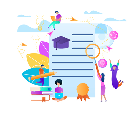 Frame with Copy Space on Education Topic. Training Young People Gaining Knowledge From Books and Internet Around of Certificate. Online Learning Students Composition. Flat Vector Illustration, Banner Illustration
