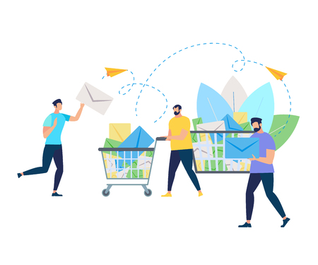 Group of Young Running Men Pushing Supermarket Trolley Full of Envelopes on White Background with Leaves. Shopping Cart with Correspondence, Flying Paper Airplanes Cartoon Flat Vector Illustration Stock Illustratie