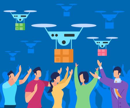 Sistema de entrega futurista moderno con vehículo aéreo Drone. Helicóptero de vuelo que entrega el paquete a las personas. Innovación robotizada de almacén de camiones autónomos de aeronaves del futuro. Ilustración de Vector plano de dibujos animados