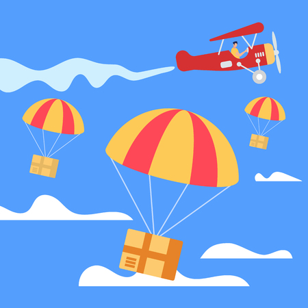 Parachutes with Parcel Boxes Falling Down from Red Retro Airplane in Blue Sky Background with Clouds. Transportation Shipping Package Cargo Service. Air Mail Express Delivery. Flat Vector Illustration Çizim