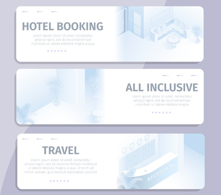 Online Booking All Inclusive Hotel Travel Banners Set Vector Illustration. Internet Search Order Online Comfortable Room Modern Apartment Reservation Service Buy Tour Business Trip Concept