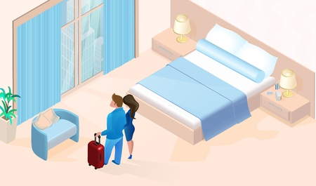 Couple Woman Man with Luggage Arriving in Cozy Modern Simple Hotel Room with large Window Vector Isometric Illustration. Luxury Contemporary Apartment for Vacation Trip Travel Honeymoon
