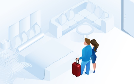Couple Woman Man Arriving Together with Luggage in Cozy Modern Hotel Room Vector Isometric Illustration. Luxury Comfortable Apartment with Bed Holiday Vacation Trip Travel Honeymoon