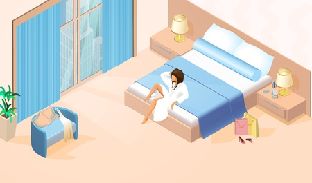 Beautiful Lady in White Bathrobe on Double Bed with Shopping Bags near it at Modern Hotel Room with large Window . Vector Isometric Illustration of Young Woman Resting after Shopping in Bedroom