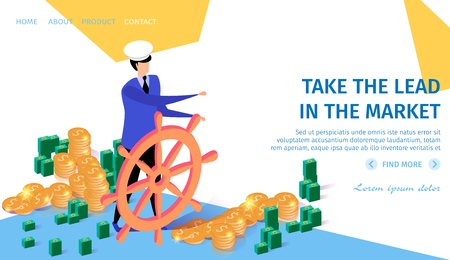 Take the Lead in the Market Horizontal Banner with Copy Space. Business Navigation Concept Businessman in Cap Drive Helm in Right Direction. Piles of Money Around 3d Flat Vector Isometric Illustration