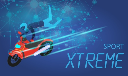 Xtreme Sport Banner. Biker Man in Suit and Helmet Riding Red Motocycle in Free Stile Doing Tricks and Jumps. Extreme Activity. Speed Race. Gradient Blue Background. Flat Vector Isometric Illustration.
