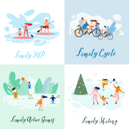 Flat Banner Family Sup Cycle Active Games Skating. Vector Illustration on Color Background. Set Winter and Summer Interesting Vacation for Children and Adults. Joint Games Unite Family. Ilustração