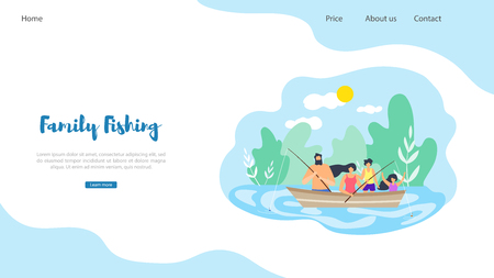 Vector Flat Banner Illustration Family Fishing. Dad Took Family out Town on Beautiful Nature Ride in Boat on Lake. Around Big Trees Good Weather Active Lifestyle Strengthens Family and Health Ilustração