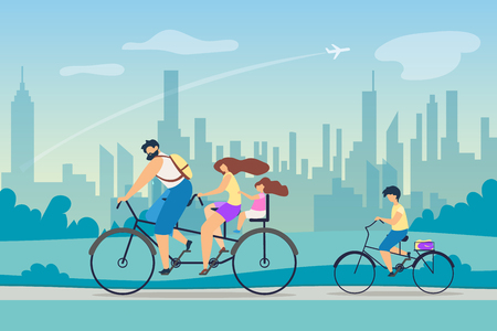 Active Lifestyle Positive Effect Health. Young Family Riding Bicycles. Parents Took Children Weekend Country. Fresh Air on Lungs. Background Big Bustling City Ride Park Vector Flat Illustration. Illustration