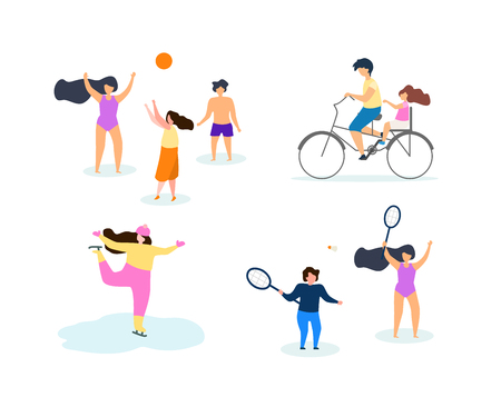 Season Motion Sport Vector Flat Illustration Set Time Active Games. Guys Playing with Ball. Friends Playing Badminton Holding Racket. Girl Skates on Ice Winter. Summer Beach Play Volleyball Weekend.