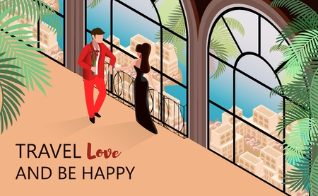 Elegant Couple near Window Vector Isometric Illustration. Travel Love be Happy Concept. Building with Romantic View Sea Palms Town. Honeymoon Vacation Weekend Trip resort Hotel Tourism