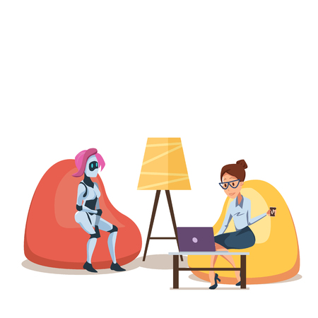 Robot and Woman with Laptop in Bean Bag Chair. Successful Businesswoman Sit Hold Cup of Tea or Coffee. Female Artificial Intelligence Character with Pink Hair. Flat Cartoon Vector Illustration.