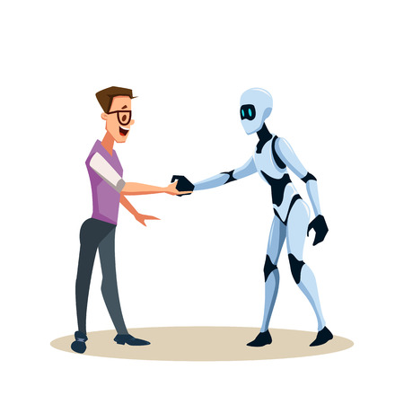 Young Smiling Man in Glasses and Robot Shake Hand. Coworking with Artificial Intelligence Character. Office Worker or Clerk and Male Smart Bot make Agreement. Cartoon Flat Vector Illustration Illustration