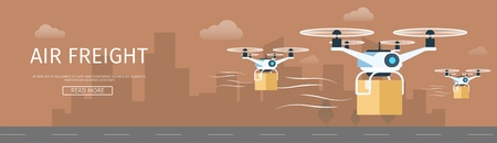 Air Drone Delivering Parcel. Supply Service Banner. Picture of Flying Shipping Device. Weight and Goods Transportation. Various Size Cardboard Box. Flat Cartoon Vector Illustration Vectores