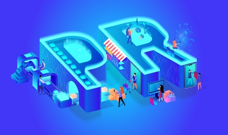3d Neon Effect Isometric Letters PR. Blue Gradient Background. Creative Font. Little People Characters Use Smart Technology in Life, Produce Goods, Shopping, Online Research. Vector Flat Illustration.