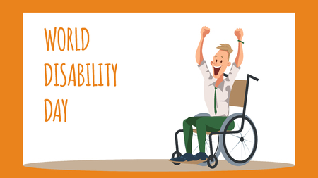 Disabled Male Office Worker Rejoice in Wheelchair. Coworker in Formal Wear Express Emotion. Celebrate World Disability Day. Happy Character with Special Needs. Cartoon Flat Vector Illustration